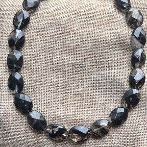 Oval Faceted Black Rutilated Quartz Necklace